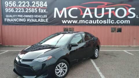 2019 Toyota Corolla for sale at MC Autos LLC in Pharr TX