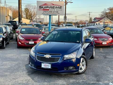 2012 Chevrolet Cruze for sale at Supreme Auto Sales in Chesapeake VA