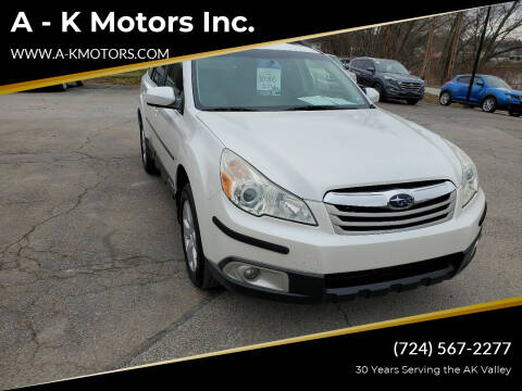 2010 Subaru Outback for sale at A - K Motors Inc. in Vandergrift PA