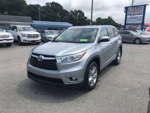 2014 Toyota Highlander for sale at U FIRST AUTO SALES LLC in East Wareham MA