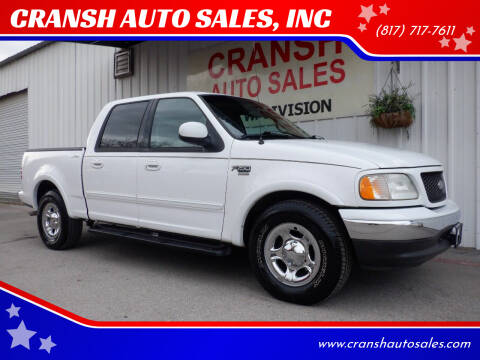 2002 Ford F-150 for sale at CRANSH AUTO SALES, INC in Arlington TX