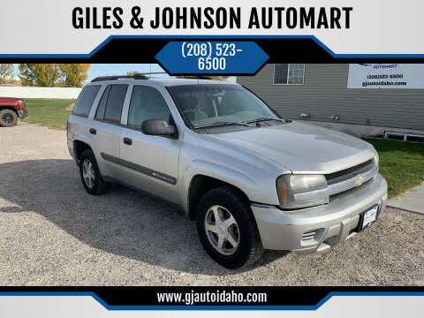 2004 Chevrolet TrailBlazer for sale at GILES & JOHNSON AUTOMART in Idaho Falls ID