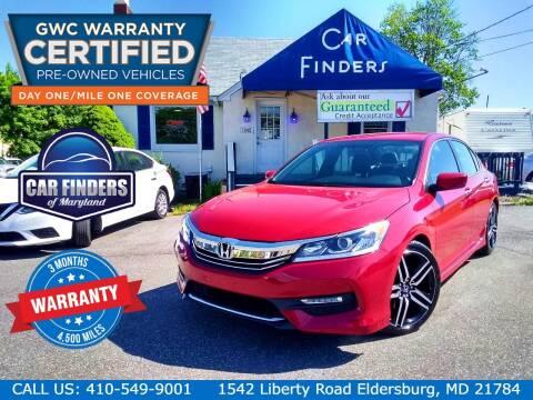 2016 Honda Accord for sale at CAR FINDERS OF MARYLAND LLC - Certified Cars in Eldersburg MD