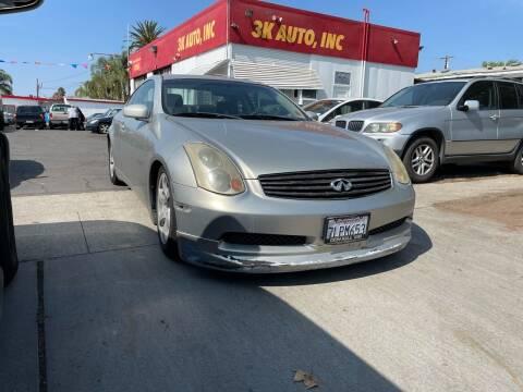 2003 Infiniti G35 for sale at 3K Auto in Escondido CA