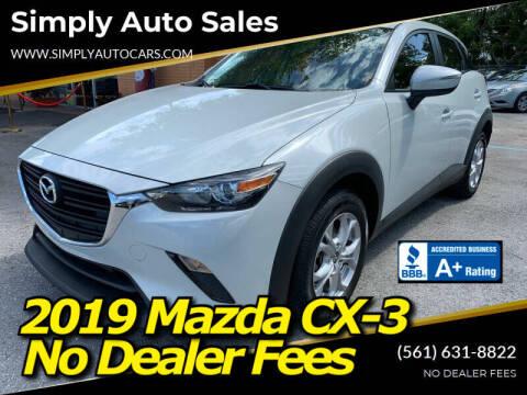 2019 Mazda CX-3 for sale at Simply Auto Sales in Palm Beach Gardens FL
