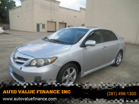 2011 Toyota Corolla for sale at AUTO VALUE FINANCE INC in Stafford TX