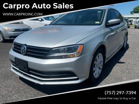2015 Volkswagen Jetta for sale at Carpro Auto Sales in Chesapeake VA