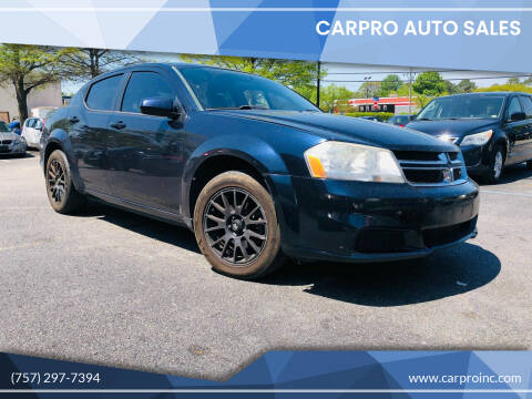 2012 Dodge Avenger for sale at Carpro Auto Sales in Chesapeake VA
