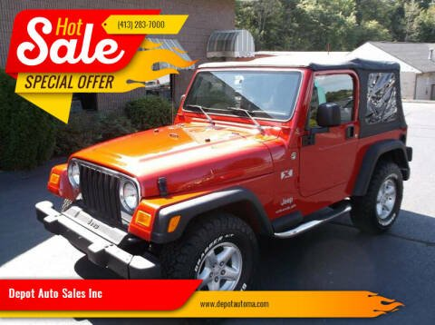 2003 Jeep Wrangler for sale at Depot Auto Sales Inc in Palmer MA