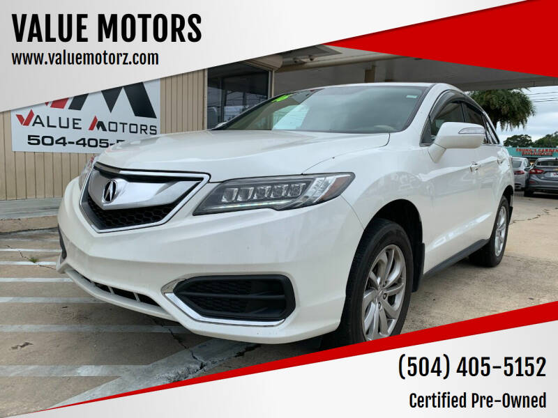 2016 Acura RDX for sale at VALUE MOTORS in Kenner LA