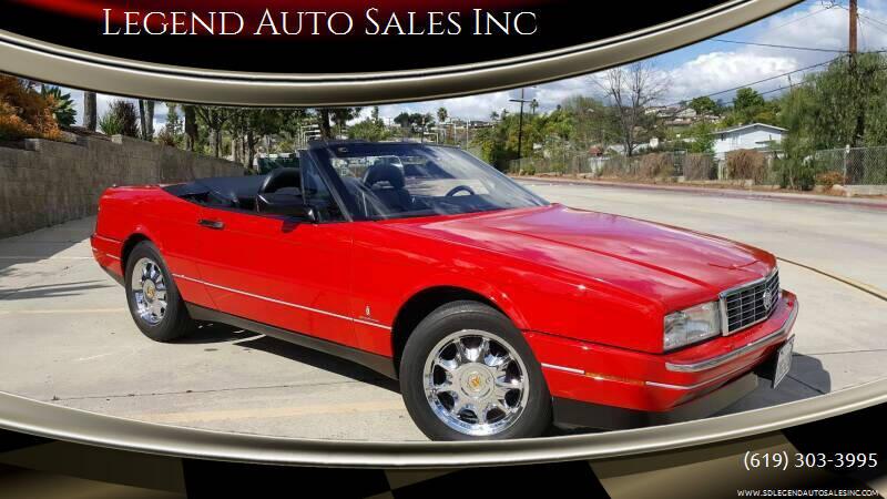 1991 Cadillac Allante for sale at Legend Auto Sales Inc in Lemon Grove CA
