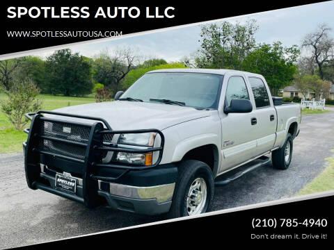 2004 Chevrolet Silverado 2500HD for sale at SPOTLESS AUTO LLC in San Antonio TX
