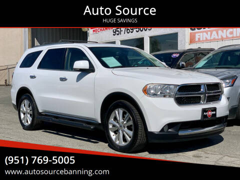 2013 Dodge Durango for sale at Auto Source in Banning CA