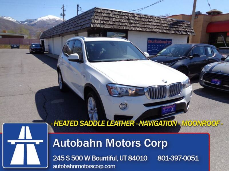 2017 BMW X3 for sale at Autobahn Motors Corp in Bountiful UT
