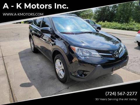 2015 Toyota RAV4 for sale at A - K Motors Inc. in Vandergrift PA