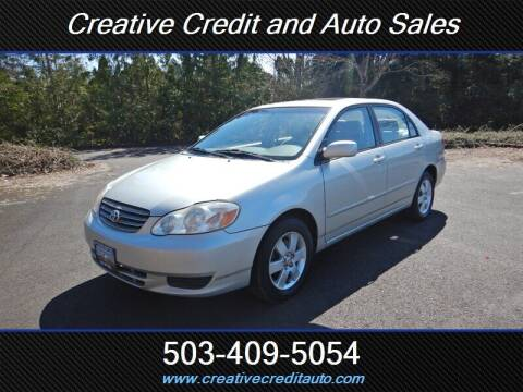 2003 Toyota Corolla for sale at Creative Credit & Auto Sales in Salem OR