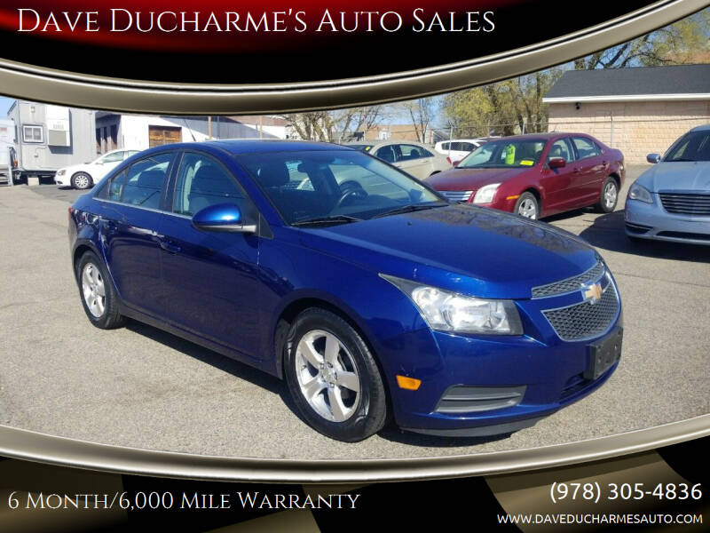 2013 Chevrolet Cruze for sale at Dave Ducharme's Auto Sales in Lowell MA