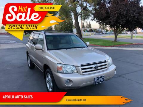 2006 Toyota Highlander for sale at APOLLO AUTO SALES in Sacramento CA
