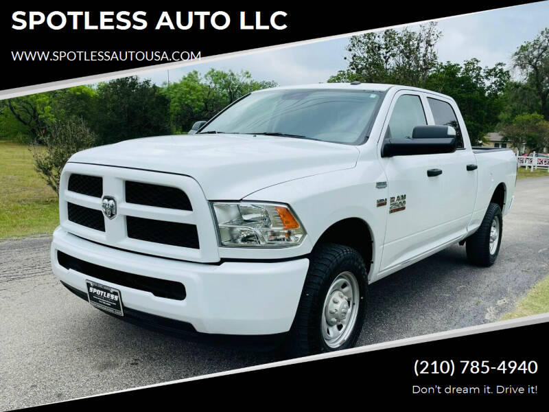 2018 RAM Ram Pickup 2500 for sale at SPOTLESS AUTO LLC in San Antonio TX
