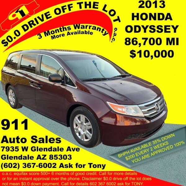 2013 Honda Odyssey for sale at 911 AUTO SALES LLC in Glendale AZ