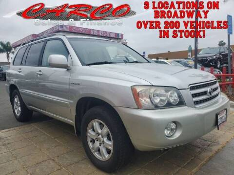 2002 Toyota Highlander for sale at CARCO SALES & FINANCE - CARCO OF POWAY in Poway CA