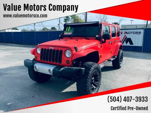 2013 Jeep Wrangler Unlimited for sale at Value Motors Company in Marrero LA