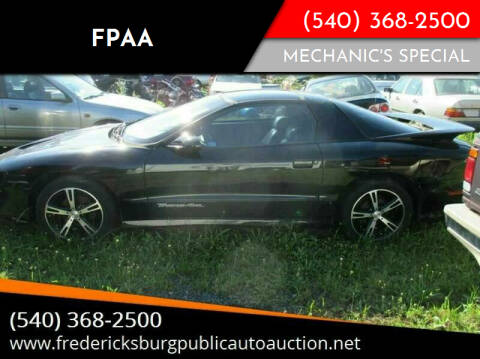 1997 Pontiac Firebird for sale at FPAA in Fredericksburg VA