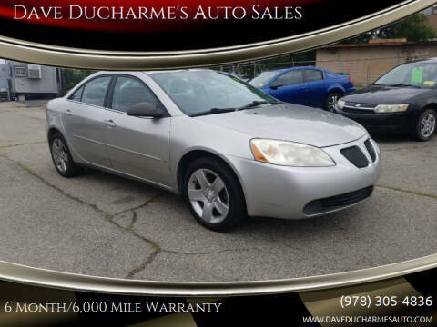 2008 Pontiac G6 for sale at Dave Ducharme's Auto Sales in Lowell MA