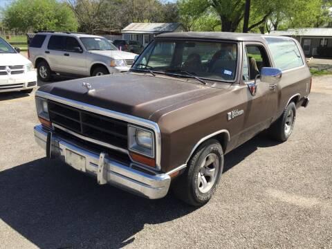 1990 Dodge Ramcharger for sale at John 3:16 Motors in San Antonio TX