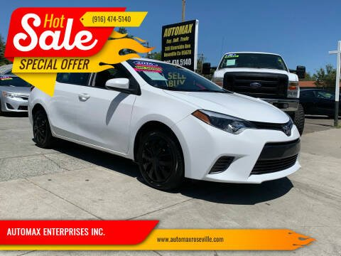 2016 Toyota Corolla for sale at AUTOMAX ENTERPRISES INC. in Roseville CA
