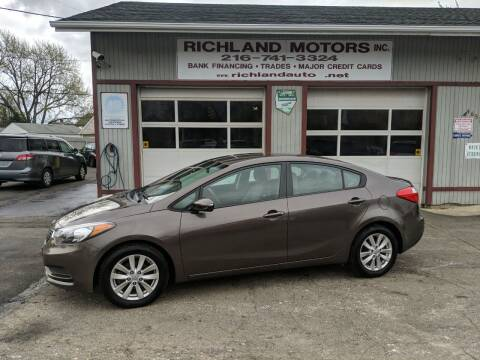 2014 Kia Forte for sale at Richland Motors in Cleveland OH