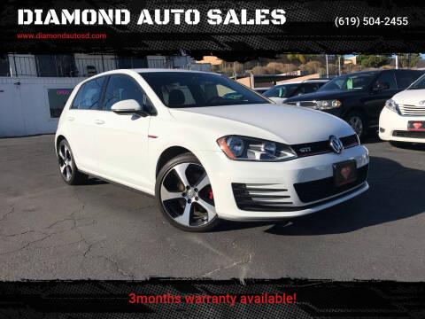2017 Volkswagen Golf GTI for sale at DIAMOND AUTO SALES in El Cajon CA