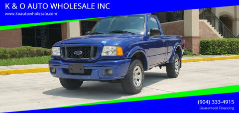 2005 Ford Ranger for sale at K & O AUTO WHOLESALE INC in Jacksonville FL