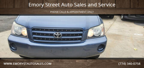 2003 Toyota Highlander for sale at Emory Street Auto Sales and Service in Attleboro MA