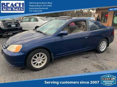 2002 Honda Civic for sale at Beach Auto Sales in Virginia Beach VA