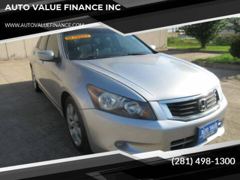2009 Honda Accord for sale at AUTO VALUE FINANCE INC in Stafford TX