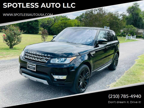 2016 Land Rover Range Rover Sport for sale at SPOTLESS AUTO LLC in San Antonio TX