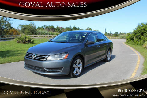 2012 Volkswagen Passat for sale at Goval Auto Sales in Pompano Beach FL