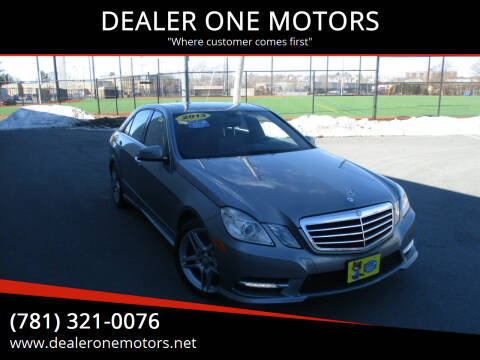 2013 Mercedes-Benz E-Class for sale at DEALER ONE MOTORS in Malden MA
