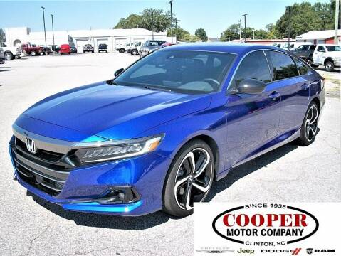 2021 Honda Accord for sale at Cooper Motor Company in Clinton SC
