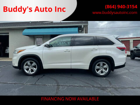 2014 Toyota Highlander for sale at Buddy's Auto Inc in Pendleton SC