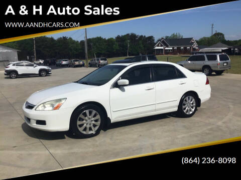 2007 Honda Accord for sale at A & H Auto Sales in Greenville SC