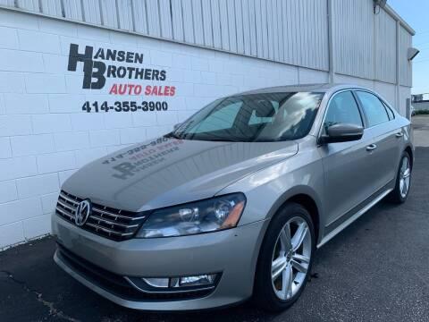 2013 Volkswagen Passat for sale at HANSEN BROTHERS AUTO SALES in Milwaukee WI