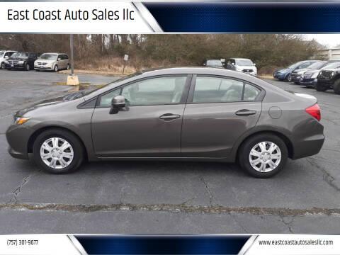 2012 Honda Civic for sale at East Coast Auto Sales llc in Virginia Beach VA