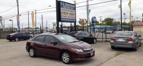 2012 Honda Civic for sale at S.A. BROADWAY MOTORS INC in San Antonio TX