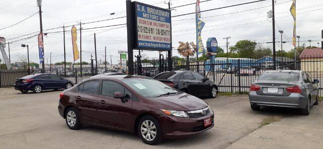 2012 Honda Civic for sale at S.A. BROADWAY MOTORS INC in San Antonio TX