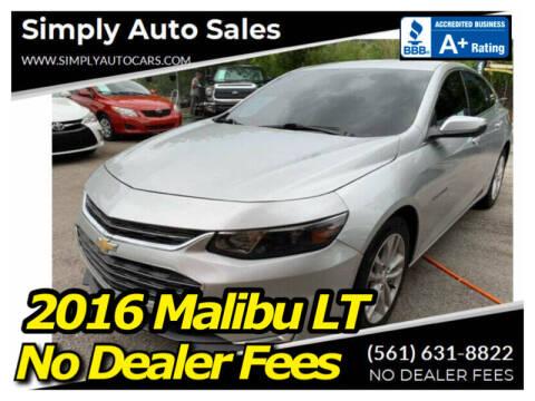 2016 Chevrolet Malibu for sale at Simply Auto Sales in Palm Beach Gardens FL