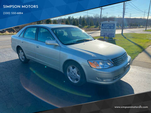 2003 Toyota Avalon for sale at SIMPSON MOTORS in Youngstown OH