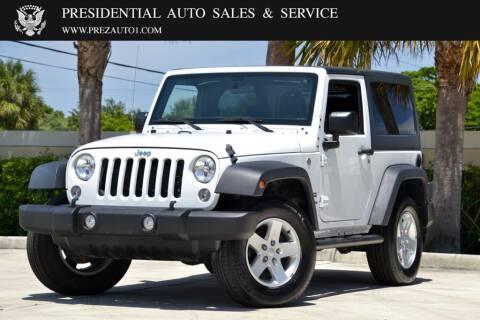 2016 Jeep Wrangler for sale at Presidential Auto  Sales & Service in Delray Beach FL