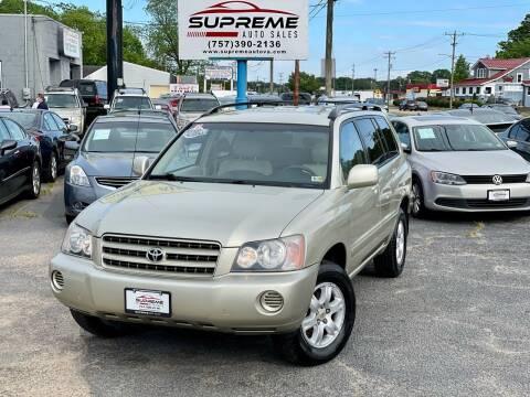 2003 Toyota Highlander for sale at Supreme Auto Sales in Chesapeake VA